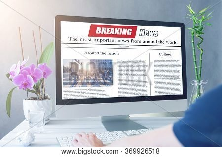 Men Reading News On A Computer Screen. Mockup Website. Newspaper And Portal On Internet.