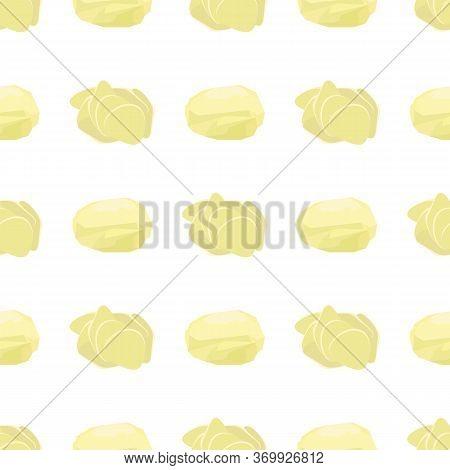 Potato Seamless Pattern On White Background. Whole, Slices, Half, Circle Potatoes. Tasty Vegetable.