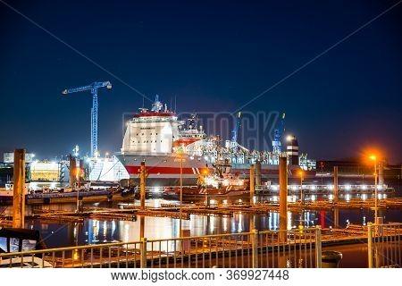 Delfzijl, Netherlands - January 10, 2020. Port At Night