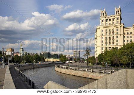 Moscow, Russia - 01 July 2020, Stalin's Skyscraper On Kotelnicheskaya Embankment On A Background Of
