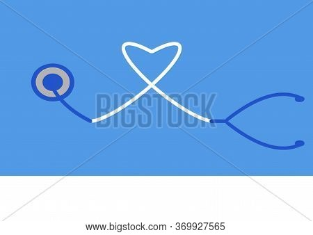 Illustration On The Theme Of Medecine. Heart And Stethoscope On A Blue Background. World Heart Day.