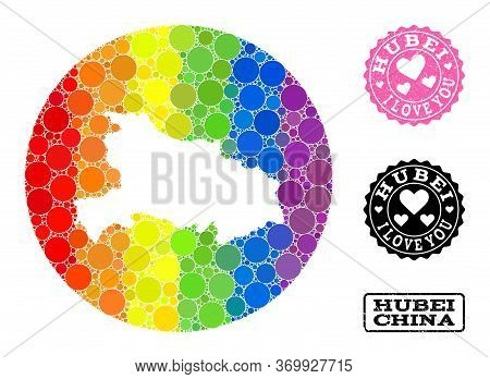Vector Mosaic Lgbt Map Of Hubei Province Of Round Dots, And Love Watermark Seal. Stencil Circle Map