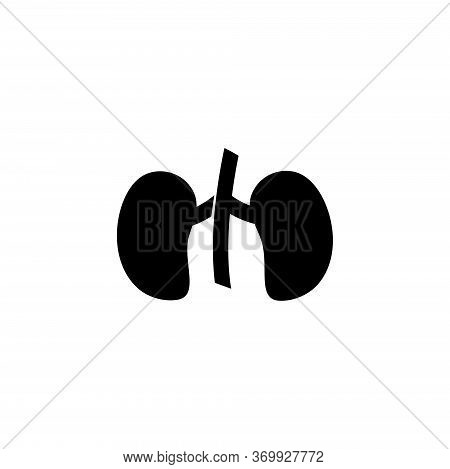 Kidneys, Human Urinary Organ, Anatomy. Flat Vector Icon Illustration. Simple Black Symbol On White B