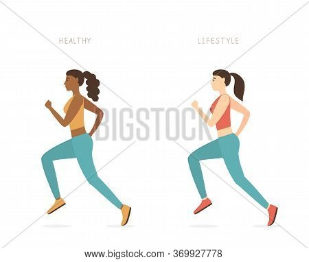 Running Girls In Sportswear Isolated On A White Background. Sports Theme Of An Active Lifestyle. A W
