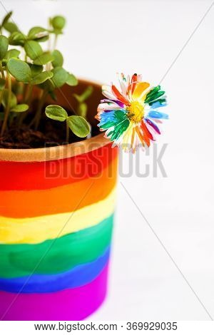 Multi-colored Drawing By Paints. Potted Rainbow, Young Sprouts, Colorful Flower.multi-colored Drawin