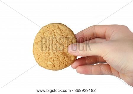 Homemade Cookies In Hand On A White Background. Homemade Cookies On A White Background. Homemade Sim