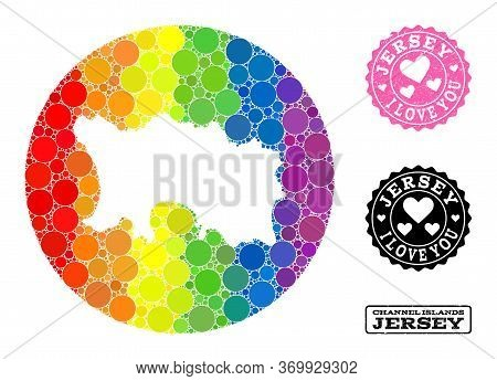 Vector Mosaic Lgbt Map Of Jersey Island With Round Items, And Love Watermark Seal Stamp. Hole Round