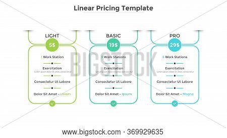 Rectangular Pricing Tables With 3 Versions Of Product And List Of Included Options. Light, Basic And