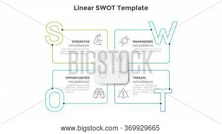Swot Diagram With 4 Rectangular Elements And Letters. Concept Of Advantages And Disadvantages Of Com