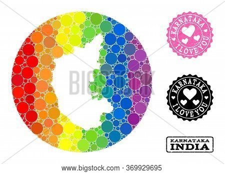 Vector Mosaic Lgbt Map Of Karnataka State With Circle Elements, And Love Grunge Seal. Stencil Round