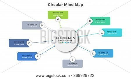 Circular Mind Map Or Scheme With Eight Colorful Rectangular Elements. Modern Infographic Design Temp