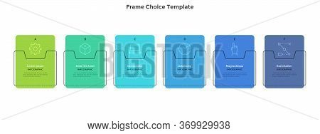 Six Colorful Rectangular Elements Placed In Horizontal Row. Concept Of 6 Business Development Option