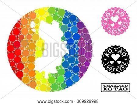 Vector Mosaic Lgbt Map Of Ko Tao With Circle Blots, And Love Grunge Seal. Stencil Circle Map Of Ko T