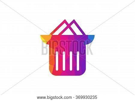 Trash Bin Or Trash Can Symbol Icon Or Logo. Colorful Bin Logo, Colorful Trash Icon
