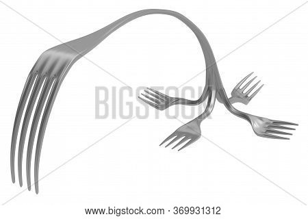 Fork Metal Odd Abstract Bend, 3d Illustration, Horizontal, Isolated, Over White