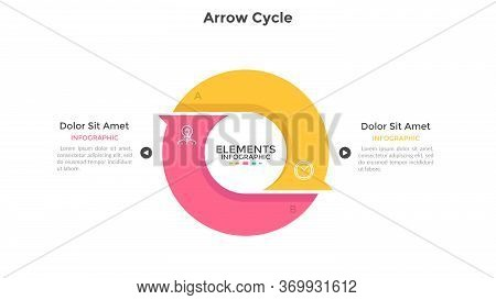 Round Cyclic Chart With 2 Colorful Arrow Elements. Concept Of Two Steps Or Stages Of Production Cycl
