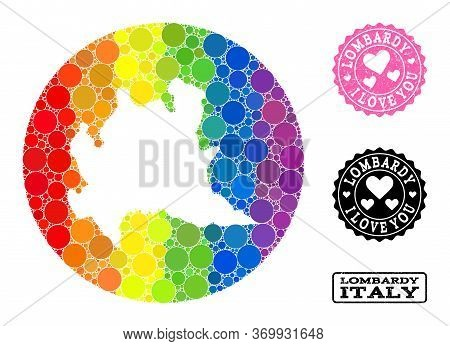 Vector Mosaic Lgbt Map Of Lombardy Region From Round Dots, And Love Rubber Seal Stamp. Hole Round Ma