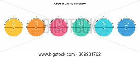 Six Colorful Round Elements Placed In Horizontal Row. Chart Representing 6 Milestones Of Business De