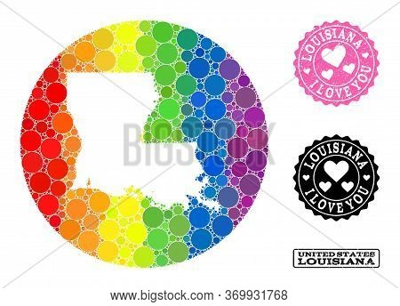 Vector Mosaic Lgbt Map Of Louisiana State With Spheric Items, And Love Watermark Stamp. Stencil Roun