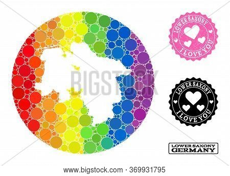 Vector Mosaic Lgbt Map Of Lower Saxony State With Spheric Items, And Love Watermark Stamp. Stencil R