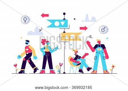 Segregation Vector Illustration. Flat Tiny Equal Diversity Sorting Persons Concept. Stereotype Separ