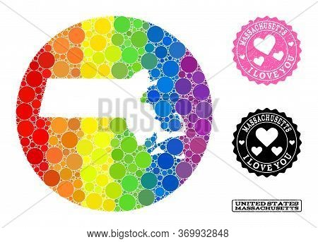 Vector Mosaic Lgbt Map Of Massachusetts State With Circle Elements, And Love Grunge Stamp. Stencil C