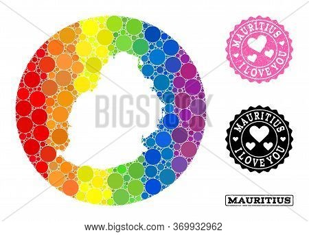 Vector Mosaic Lgbt Map Of Mauritius Island With Circle Blots, And Love Rubber Stamp. Stencil Round M