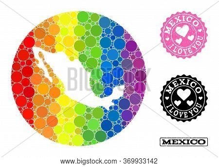 Vector Mosaic Lgbt Map Of Mexico From Round Spots, And Love Scratched Stamp. Subtraction Round Map O