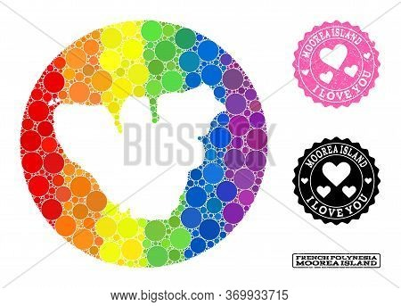 Vector Mosaic Lgbt Map Of Moorea Island With Round Items, And Love Grunge Seal. Subtraction Round Ma