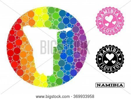 Vector Mosaic Lgbt Map Of Namibia With Round Elements, And Love Scratched Seal Stamp. Hole Round Map