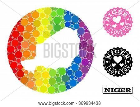 Vector Mosaic Lgbt Map Of Niger With Circle Dots, And Love Scratched Seal. Subtraction Circle Map Of