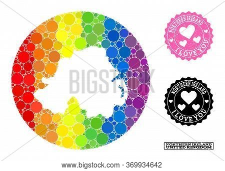 Vector Mosaic Lgbt Map Of Northern Ireland With Round Blots, And Love Grunge Seal Stamp. Subtraction
