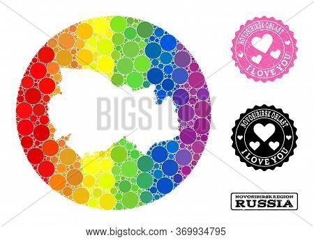 Vector Mosaic Lgbt Map Of Novosibirsk Region With Round Elements, And Love Watermark Seal Stamp. Ste