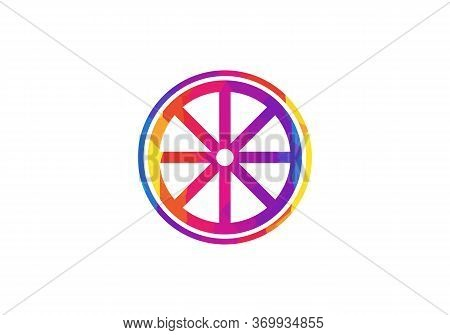 Rush Car Wheel Vector Icon. Flat Rush Car Wheel Symbol Is Isolated On A White Background. Low Poly W