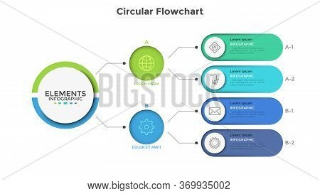Workflow Diagram Or Flowchart With Connected Colorful Rounded Elements. Schematic Chart Representing