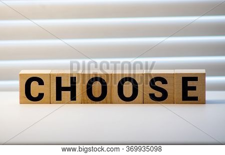 Choose Words From Wooden Blocks With Letters, Top View Gray Background