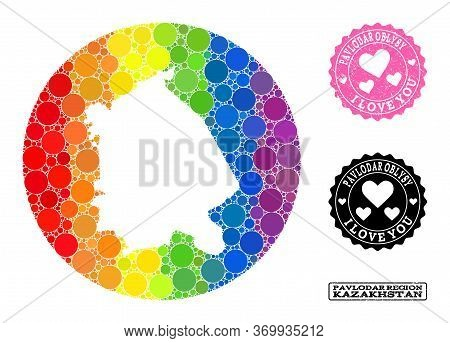 Vector Mosaic Lgbt Map Of Pavlodar Region With Circle Dots, And Love Grunge Seal Stamp. Stencil Circ