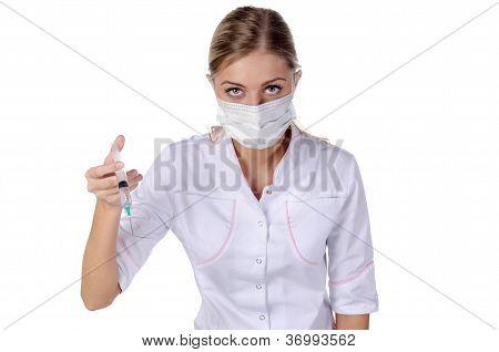 Doctor, Girl, Syringe Injection