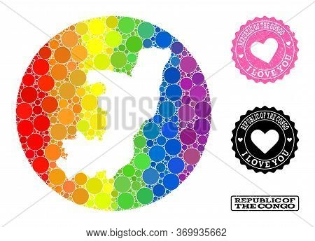 Vector Mosaic Lgbt Map Of Republic Of The Congo Of Round Spots, And Love Scratched Seal. Hole Circle