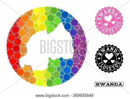 Vector Mosaic Lgbt Map Of Rwanda With Round Dots, And Love Watermark Stamp. Subtraction Round Map Of