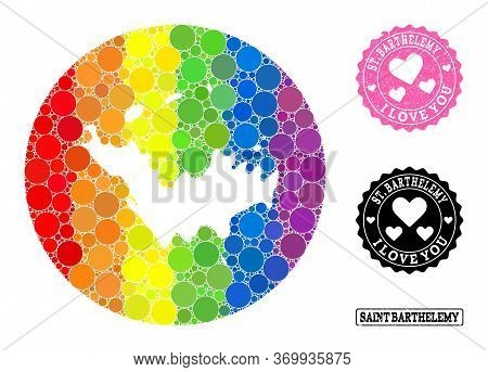 Vector Mosaic Lgbt Map Of Saint Barthelemy Of Round Items, And Love Watermark Seal. Subtraction Roun