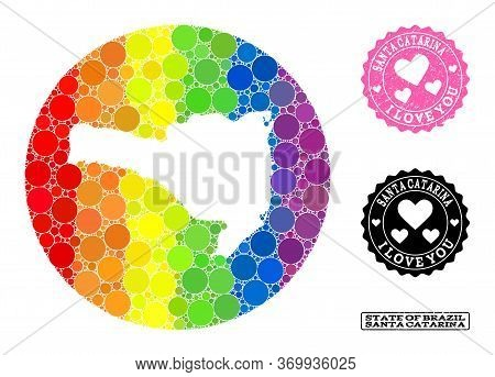 Vector Mosaic Lgbt Map Of Santa Catarina State With Round Items, And Love Rubber Seal. Hole Round Ma