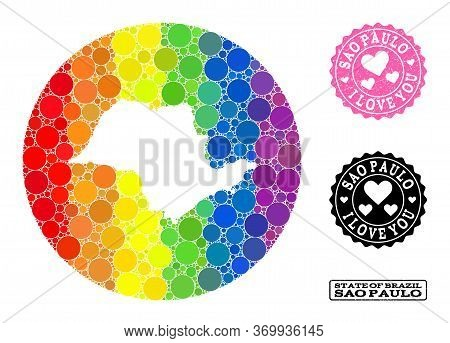 Vector Mosaic Lgbt Map Of Sao Paulo State With Round Elements, And Love Scratched Stamp. Hole Circle