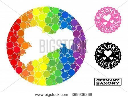 Vector Mosaic Lgbt Map Of Saxony State With Round Elements, And Love Grunge Seal Stamp. Hole Circle
