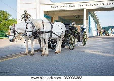Piestany, Slovakia - May 16 2017:  Horse Drawn Carriage In Front Of Bridge To Spa Island In Piestany