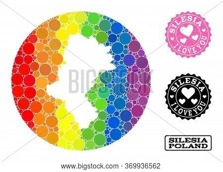 Vector Mosaic Lgbt Map Of Silesia Province With Round Items, And Love Watermark Seal Stamp. Stencil