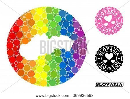 Vector Mosaic Lgbt Map Of Slovakia With Round Elements, And Love Grunge Seal. Stencil Circle Map Of