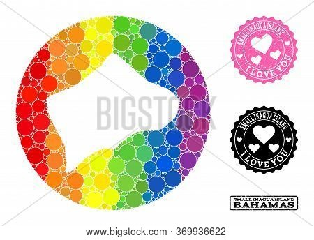 Vector Mosaic Lgbt Map Of Small Inagua Island With Spheric Spots, And Love Watermark Seal Stamp. Sub