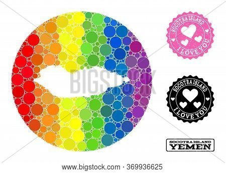 Vector Mosaic Lgbt Map Of Socotra Island With Round Blots, And Love Watermark Seal. Subtraction Roun