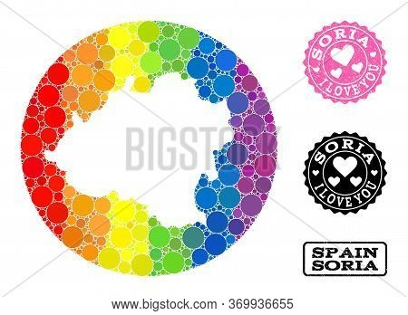 Vector Mosaic Lgbt Map Of Soria Province With Round Elements, And Love Grunge Seal Stamp. Hole Round